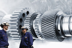 Industry workers and engineering parts Royalty Free Stock Photography