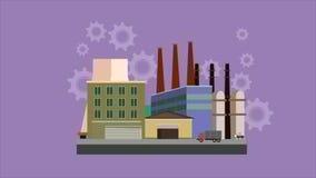 Industryal背景-产业工厂 平的样式英尺长度录影 股票视频
