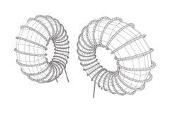 Indutor Toroidal da bobina ilustração do vetor