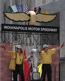 Indy 500 Borg-warner trophy on IMS Float during Indy 500 Festival Parade. Indianapolis Motor Speedway (IMS) workers holding Indy 500 Borg-warner trophy and royalty free stock images
