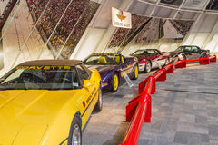 Indy 500 Corvette Pace Cars. Displayed at the National Corvette Museum in Bowling Green, Kentucky Royalty Free Stock Images
