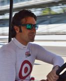 Indy 500. Dario Franchitti driving his golf cart in the snake pit at the Indianapolis motor speedway stock photos