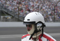 Indy 500 Race Pit Crew Member with Helmet and Headphone Royalty Free Stock Photos