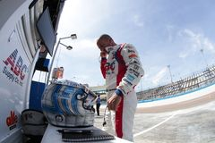 IndyCar: April 06 Desert Diamond West Valley Casino Phoenix Gran. April 06, 2018 - Avondale, Arizona, USA: Tony Kanaan 14 prepares for a practice session for the royalty free stock image