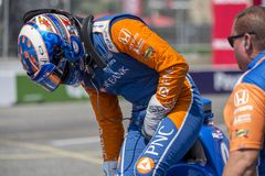 IndyCar: July 15 Honda Indy Toronto. July 15, 2018 - Toronto, Ontario, CA: SCOTT DIXON 9 of New Zealand gets suited up for the warm up for the Honda Indy Toronto stock photos