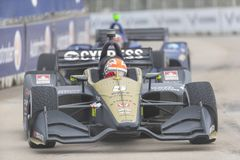 IndyCar:  June 01 Detroit Grand Prix. June 01, 2019 - Detroit, Michigan, USA: JAMES HINCHCLIFFE 5 of Canada races through the turns during the  race for the stock photos