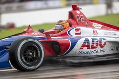 IndyCar:  June 01 Detroit Grand Prix. June 01, 2019 - Detroit, Michigan, USA: MATHEUS LEIST 4 of Brazil races through the turns during the  race for the Detroit royalty free stock image