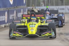 IndyCar:  June 01 Detroit Grand Prix. June 01, 2019 - Detroit, Michigan, USA: SEBASTIEN BOURDAIS 18 of France races through the turns during the  race for the royalty free stock images