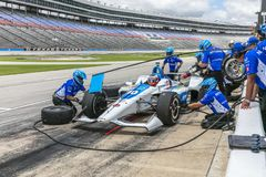 IndyCar:  June 07 DXC Technology 600. FELIX ROSENQVIST 10 of Sweeden prepares to pit during practice for the DXC Technology 600 at Texas Motor Speedway in Ft royalty free stock photography