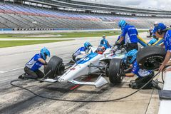 IndyCar:  June 07 DXC Technology 600. FELIX ROSENQVIST 10 of Sweeden prepares to pit during practice for the DXC Technology 600 at Texas Motor Speedway in Ft stock image