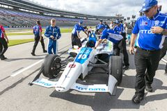IndyCar:  June 07 DXC Technology 600. FELIX ROSENQVIST 10 of Sweeden prepares to qualify for the DXC Technology 600 at Texas Motor Speedway in Ft Worth, Texas royalty free stock photos