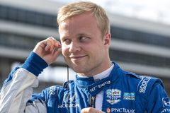 IndyCar:  June 07 DXC Technology 600. FELIX ROSENQVIST 10 of Sweeden prepares to qualify for the DXC Technology 600 at Texas Motor Speedway in Ft Worth, Texas royalty free stock images