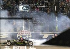 IndyCar: June 08 DXC Technology 600. JOSEF NEWGARDEN 2 of the United States wins the DXC Technology 600 at the DXC Technology 600 at Texas Motor Speedway in Ft stock photos