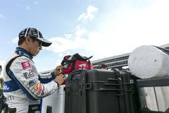 IndyCar:  June 07 DXC Technology 600. TAKUMA SATO 30 of Japan prepares to qualify for the DXC Technology 600 at Texas Motor Speedway in Ft Worth, Texas royalty free stock photo