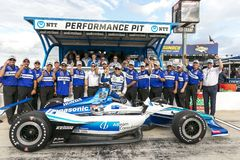 IndyCar: June 07 DXC Technology 600. TAKUMA SATO 30 of Japan wins the pole for the DXC Technology 600 at Texas Motor Speedway in Ft Worth, Texas stock image