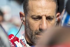 IndyCar:  June 07 DXC Technology 600. TONY KANAAN 14 of Brazil prepares to qualify for the DXC Technology 600 at Texas Motor Speedway in Ft Worth, Texas royalty free stock photos