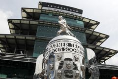 IndyCar: May 17 Indianapolis 500. May 17, 2019 - Indianapolis, Indiana, USA: The Borg Warner Trophy sits on pit road as the Indianapolis Motor Speedway plays stock images