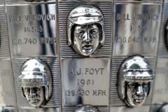 IndyCar: May 17 Indianapolis 500. May 17, 2019 - Indianapolis, Indiana, USA: The Borg Warner Trophy sits on pit road as the Indianapolis Motor Speedway plays stock photo