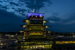 IndyCar: May 26 Indianapolis 500. May 26, 2019 - Indianapolis, Indiana, USA: The sun rises on the Indianapolis Motor Speedway as it plays host to the royalty free stock photo