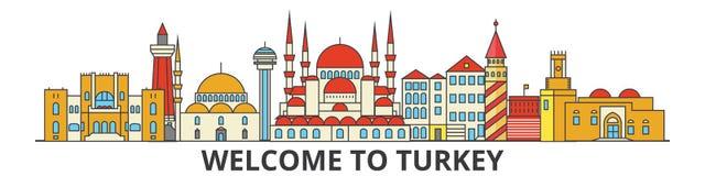 Indycza kontur linia horyzontu, tureckiego mieszkania cienkie kreskowe ikony, punkty zwrotni, ilustracje Indyczy pejzaż miejski,  royalty ilustracja