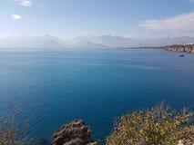 Indyczego Antalya analya wakacyjna zabawa relaksuje naturę relaksuje morze historii kasztelu plażowych drewnianych drzwiowych drz Obrazy Stock