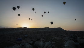 Indyczy gorące powietrze Szybko się zwiększać przy wschodem słońca zdjęcia royalty free