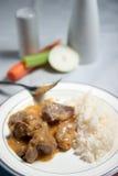 Indyczy gulasz z ryż Zdjęcie Royalty Free