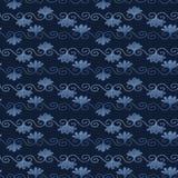 Indygowego błękita barwidła kwiatu adamaszka wzór Bezszwowa wielostrzałowa zawijas ślimacznica royalty ilustracja