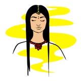 indyjska kobieta Portret zamężna Indiańska kobieta z mangala sutra doodle royalty ilustracja