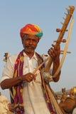 Indyjski muzyk przy Pushkar jarmarkiem Fotografia Royalty Free