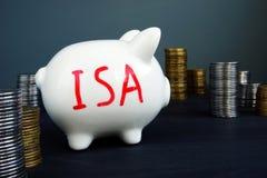 Indywidualny oszczędzania konto ISA pisać na prosiątko banku zdjęcie royalty free