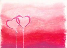 Ineengestrengelde hartballons Stock Afbeeldingen