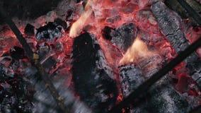 Ineenstortingensteenkolen met pook in een brand stock videobeelden