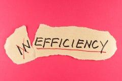Inefficiency till effektivitet arkivbild