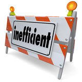 Inefficient Ineffective Unproductive Road Construction Sign Barr Royalty Free Stock Photography
