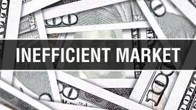 Ineffizientes Markt-Nahaufnahme-Konzept Amerikanische Dollar des Bargeld-, Wiedergabe 3D Ineffizienter Markt an der Dollar-Bankno vektor abbildung