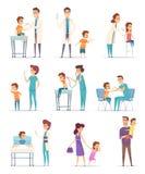 inenting Kinderen in het ziekenhuis met arts die injectiemeisjes en jongens tot vector medische illustraties maakt royalty-vrije illustratie