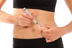 Inenting van de de insulineinjectie van de diabetes de diabetes Stock Foto's