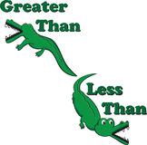 Inequality alligators. Alligators illustrated with greater than and less than symbols to help teach and remind students which symbol is correct Stock Photography
