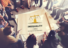 Inequality Difference Diversity Imbalance Racism Concept stock images