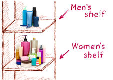 The inequality of male and female cosmetics on the shelves. The inequality of male and female care products. Comparison of cosmetics on the shelves Stock Photos