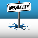 Inequality plate. Abstract colorful background with a plate with the word inequality coming out from an ice crack Royalty Free Stock Photos