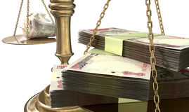 Inequality Scales Of Justice Income Gap India. An old school bronze justice scale with stacks of indian rupee money on one side and a few crumpled notes on the Stock Photos