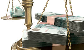 Inequality Scales Of Justice Income Gap Russia. An old school bronze justice scale with stacks of russian ruble money on one side and a few crumpled notes on the Royalty Free Stock Image