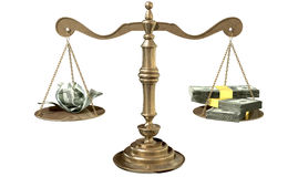 Inequality Scales Of Justice Income Gap USA. An old school bronze justice scale with stacks of us dollar money on one side and a few crumpled notes on the other Royalty Free Stock Image