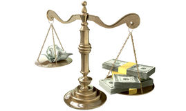 Inequality Scales Of Justice Income Gap USA. An old school bronze justice scale with stacks of us dollar money on one side and a few crumpled notes on the other Royalty Free Stock Photo