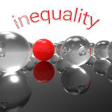 Inequality. Three-dimensional abstract illustration with one sole red marble against a bunch of transparent glass balls and caption inequality; concept for Stock Photo
