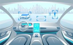 Inerior van de Autinomous slimme auto Het zelf drijven bij stadslandschap De vertoning toont de informatie over het voertuig zich stock illustratie