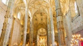 Ineror do monastério Lisboa de Jeronimos, Portugal Imagens de Stock