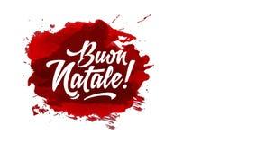 Italian happy christmas text design over red watercolour splash